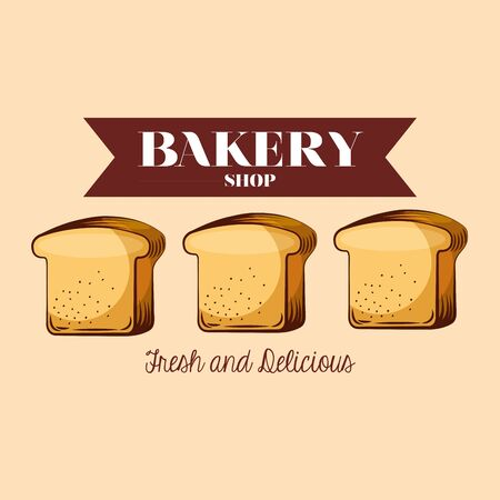 Toast design, Bakery food shop traditional quality style and breakfast theme Vector illustration