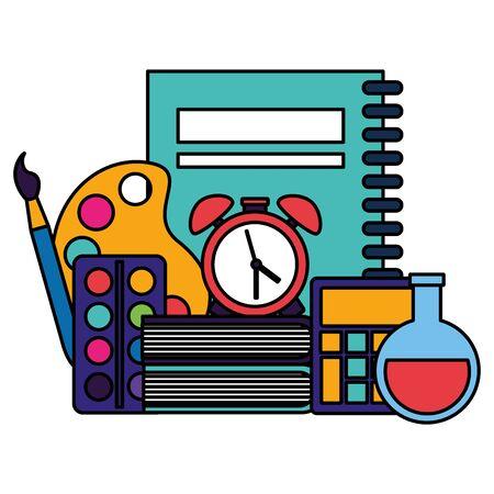 book clock alarm test tube calculator palette color paintbrush back to school vector illustration
