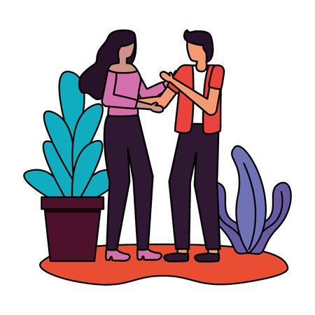 couple romantic love flat design vector illustration