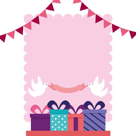 wedding gift boxes on table pennant pigeons ribbon vector illustration