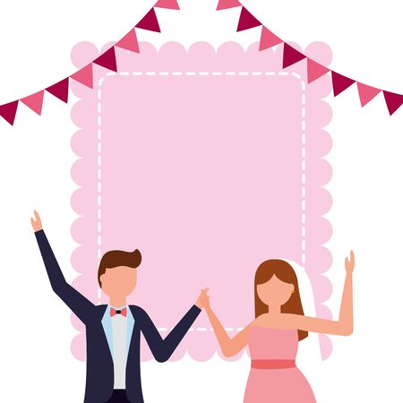 bride and groom wedding greeting card pennant decoration vector illustration