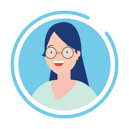 woman portrait round icon blue background vector illustration