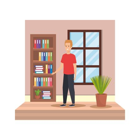 young man in the house character vector illustration design