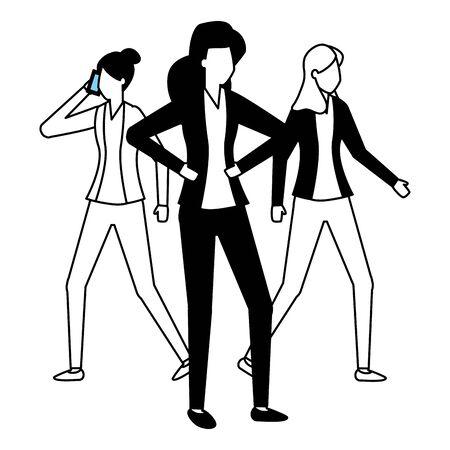 business women group team work vector illustration