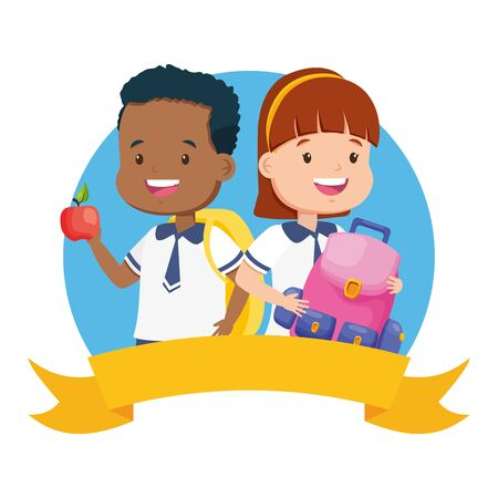 boy and girl student with backpack and apple back to school vector illustration Çizim