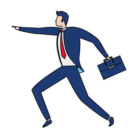 businessman with briefcase business success vector illustration