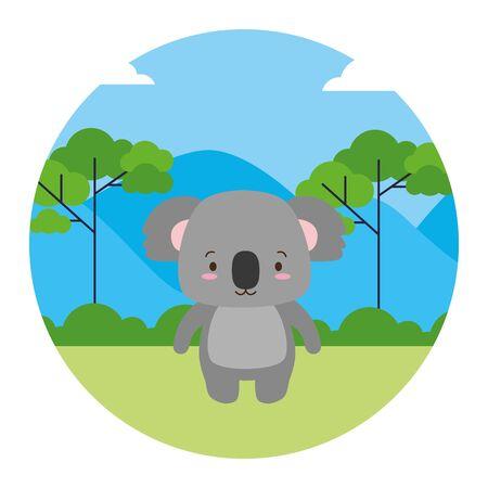 cute koala animal landscape natural vector illustration Illusztráció