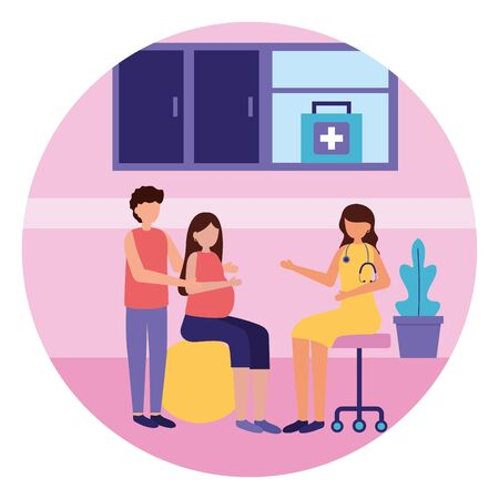 man and woman pregnancy sitting on ball visit doctor maternity scene flat vector illustration