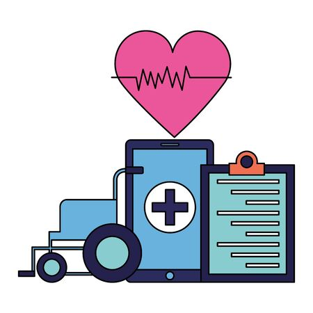 medical smartphone wheelchair clipboard heart app vector illustration Ilustração