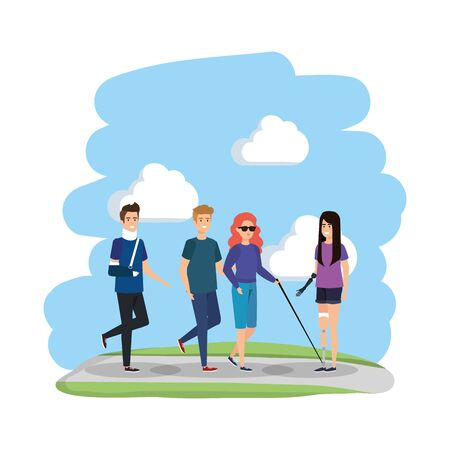 man with orthopedic collar and blind woman vector illustration design