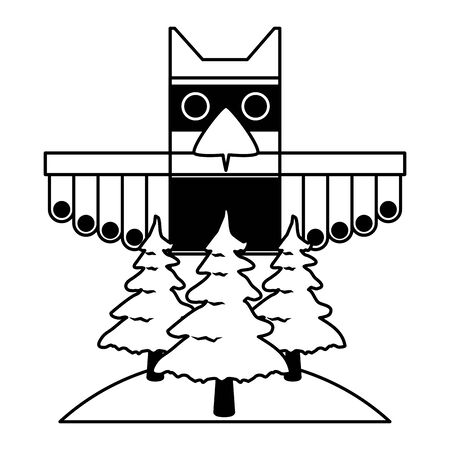 canadian totem forest trees nature culture vector illustration 向量圖像