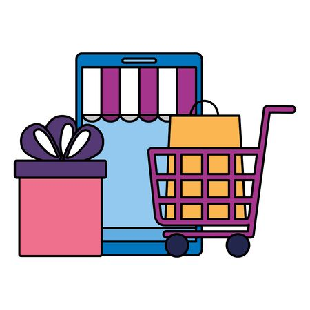 online shopping ecommerce smartphone cart gift and bag vector illustration