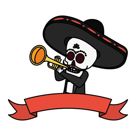 mexican skull mariachi playing trumpet vector illustration design