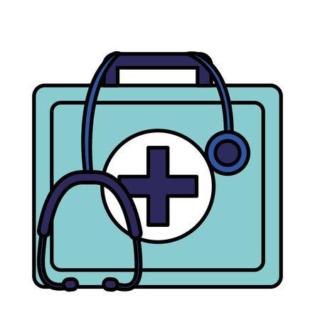 medical first aid kit stethoscope equipment vector illustration Illustration