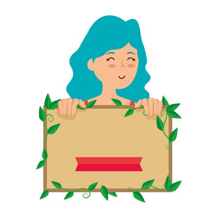 young woman with ecology label vector illustration design