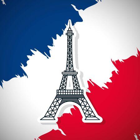 happy bastille day france flag grunge eiffel tower vector illustration