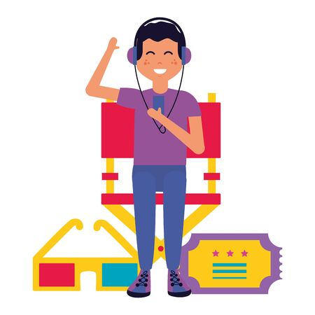 man with headphones ticket and 3d glasses cinema vector illustration Illustration