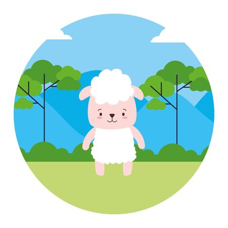 cute sheep animal landscape natural vector illustration