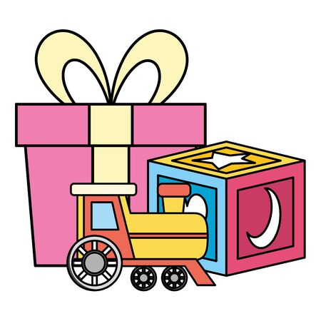 gift with block and train baby toys icons vector illustration design Фото со стока - 130176715