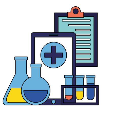 medical smartphone clipboard flasks clinic vector illustration Çizim