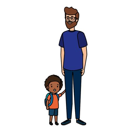 young father with son characters vector illustration design Ilustracja