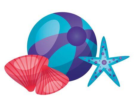 summer time holiday beachball starfish and shell vector illustration
