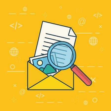 envelople letter picture magnifying glass send email vector illustration