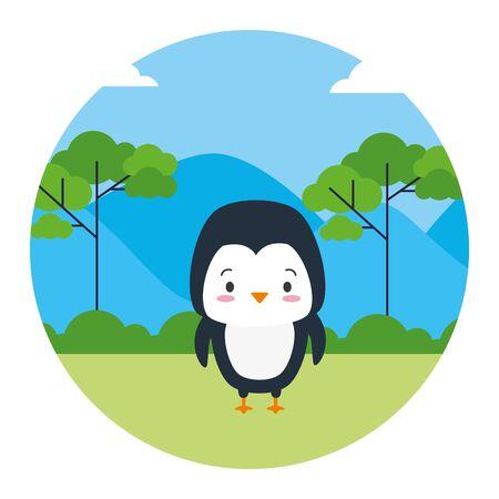 mignon, pingouin, animal, paysage, naturel, vecteur, illustration Vecteurs