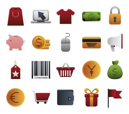 bundle of business colorful set icons vector illustration design