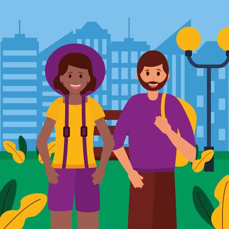 happy young couple city outdoor vector illustration