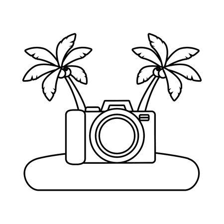 beach vacations camera palms vector illustration design Illustration