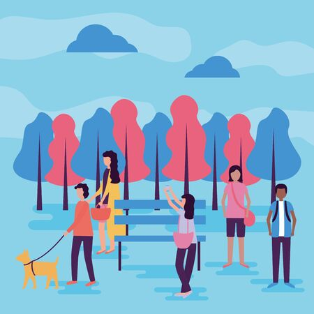 people differents park activities outdoors vector illustration 일러스트