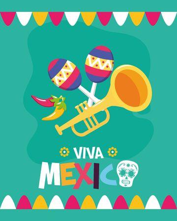 trumpet and maracas celebration viva mexico vector illustration