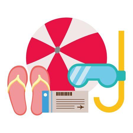vacations ball sandals snorkel tickets vector illustration