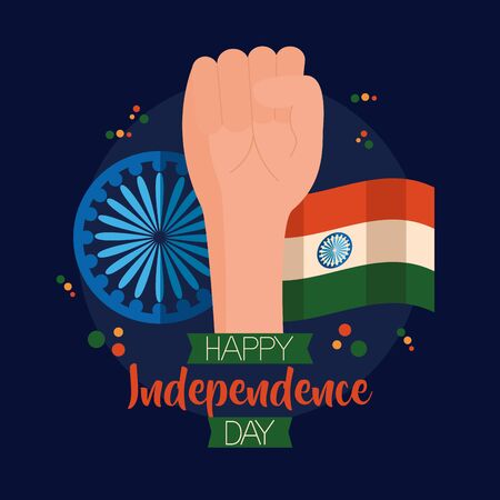 happy independence day india hand with wheel and flag vector illustration
