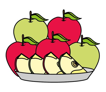 apples slice tropical fruits in dish vector illustration