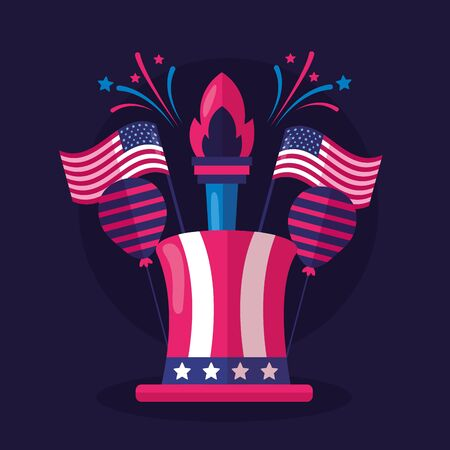 top hat balloons torch american happy independence day vector illustration