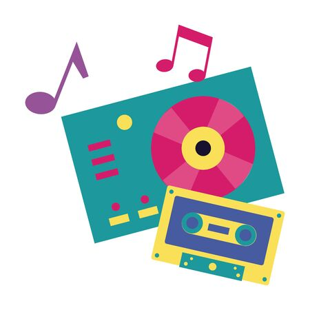 turntable vinyl record vinyl cassette music festival vector illustration