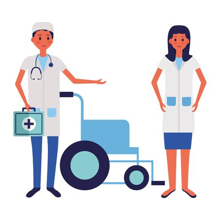 medical people staff nurse doctor wheelchairvector illustration Illustration