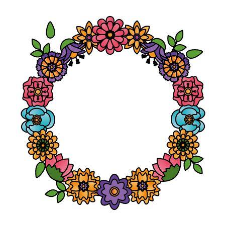 flowers wreath flora leaves decoration vector illustration design