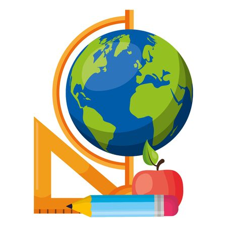 world map apple ruler and pencil back to school vector illustration
