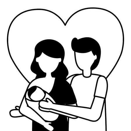 dad and mom carrying newborn pregnancy and maternity vector illustration