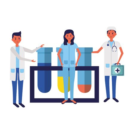 medical people staff with laboratory test tube samplesvector illustration