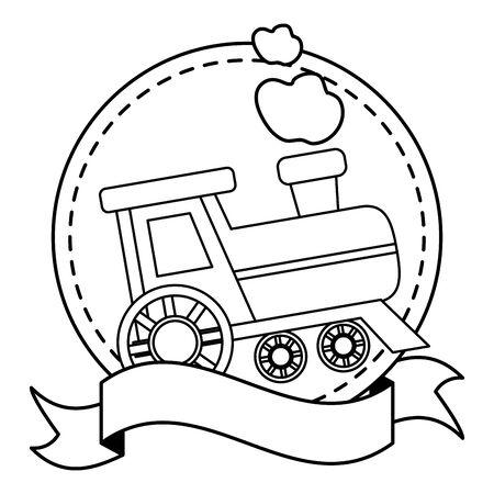 baby toys train sticker ribbon vector illustration Иллюстрация