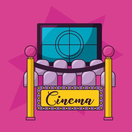 auditorium seats screen countdown cinema movie vector illustration