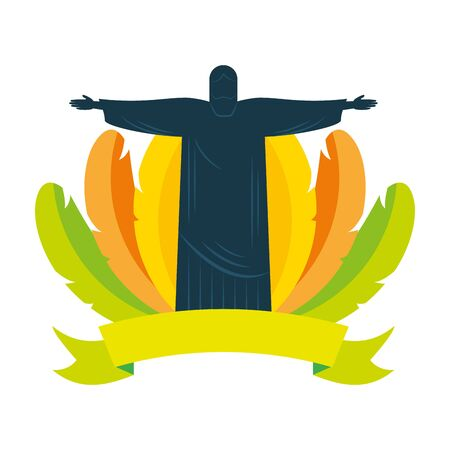 corcovado feathers brazil carnival banner vector illustration