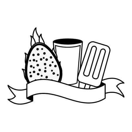 juice ice cream dragon fruit tropical fruits vector illustration Illustration