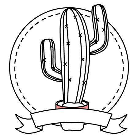 mexican cactus in pot icon vector illustration design