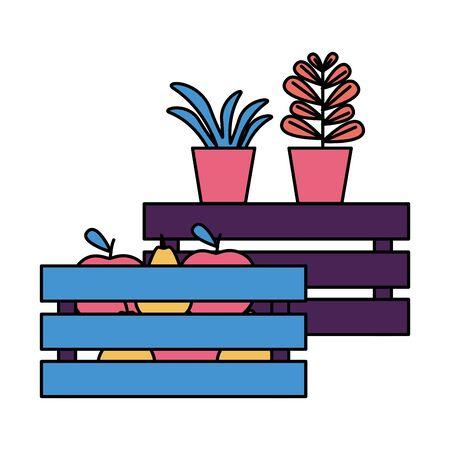 tropical fruits and potted plants vector illustration Ilustração