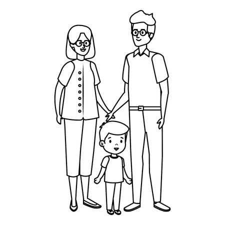 cute grand parents couple with grandson vector illustration design Ilustração